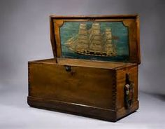 American Sea Box With Ship Painting - Camphor Wood Sailors Sea Chest ...