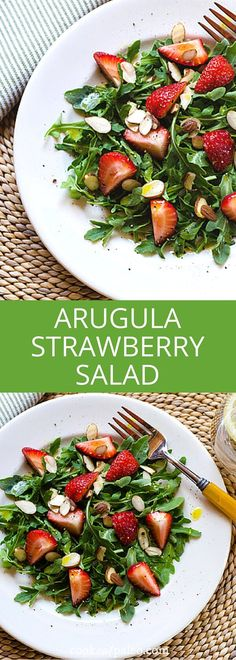 A simple arugula strawberry salad with Meyer lemon vinaigrette that's paleo, keto, vegan and friendly. It combines your favorite spring flavors and takes less than 10 minutes. Healthy Salad Recipes, Real Food Recipes, Whole30 Recipes, Vegan Recipes, Whole 30 Salads, Easy Whole 30 Recipes, Main Dish Salads, Spring Salad, Dieta Paleo