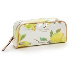 """HP Kate Spade limoncello berrie cosmetic case New with tags and packaging! I was going to keep this one for myself but I don't need it and I'd rather it go to someone who's going to get some use out of it! 3.25"""" x 7.25"""". Interior wall pocket. Top zip closure. PVC-Coated faille (wipes clean!) with leather trim. Price is firm. All items come from a pet-free and smoke-free home. kate spade Bags Cosmetic Bags & Cases"""