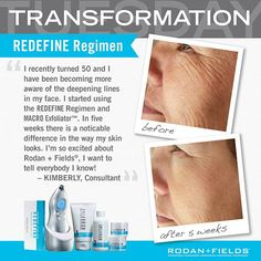 I am also 50 and have started using the MACRO Exfoliator along with REDEFINE.  I am so pleased with the results, it's like having my own dermatologist in my medicine cabinet.  Rodan + Fields is the place to go for great looking skin.  Follow the link to my web page and find out how you can get this amazing product!