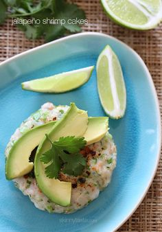 Jalapeño Shrimp Cakes -  light and delicious, made with scallions and cilantro then topped with a little fresh lime juice and a few slices of avocado. Serve this over a bed of greens for a quick, light summer meal.