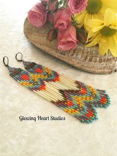 Southwestern Earrings  porcupine quills by GlowingHeartStudios