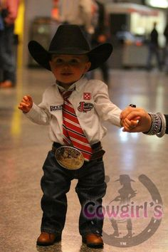 Cute, Cute, Cute. my fav. picture of Tim when he was little was when he was wearing his bibs and boots !!Mini Cowboy. ~ World Rodeo - Cowboys and Cowgirls