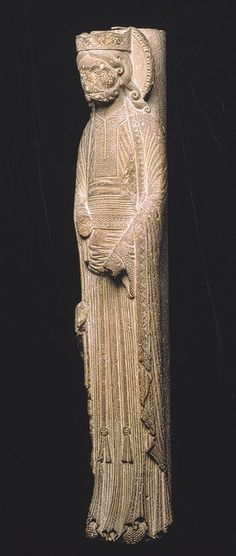 Column Figure of a King, abbey of Saint-Denis, c. 1150 - 1170. Tassels on belt ends.