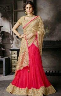 Beige Hot Pink Net Satin Embroidered Designer Saree