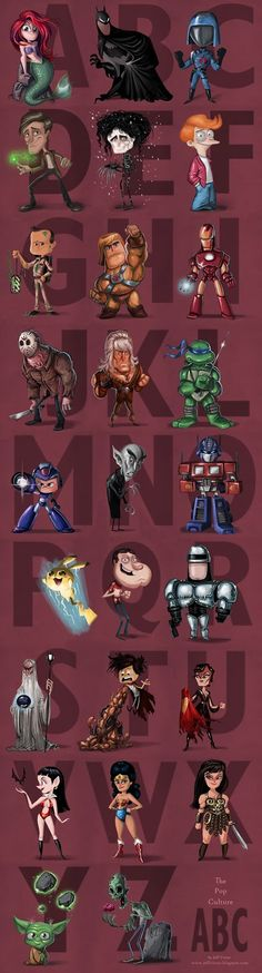 Geek-Art.net  Jeff Victor's pop culture alphabet is simply awesome ! The whole alphabet here.   #geekart