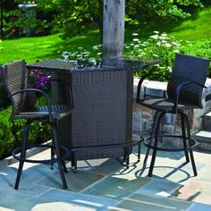 Alfresco Home Outdoor Wicker Bar Set With Granite Top And 2 Swivel Bar  Chairs