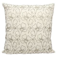 "Beaded Flowers Decorative Pillow - Silver - 20"" x 20"""