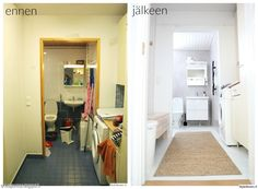 mikrosementti,ennen ja jälkeen,kylpyhuone,kodinhoitohuone