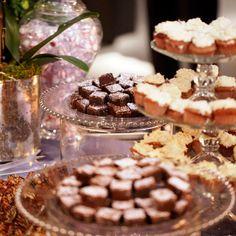Double fudge brownies, mini vanilla bean cupcakes with buttercream icing and mini German Chocolate cupcakes