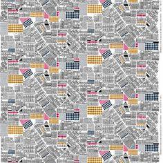 Koe kaupungin pulssi! Aino-Maija Metsolan Marimekolle suunnittelema Puisto-osasto -kangas on mustavalkoinen viivapiirros, jossa kaupungin viheralueet on piirretty vaaleanpunaisina, sinapinkeltaisina ja sinisinä. Kangas on paksua puuvillaa.
