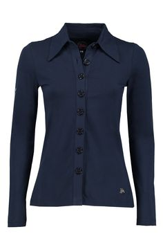 Tante Betsy Button Shirt Solid Navy dark blue effen donkerblauw blouse