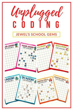 SEASONAL Unplugged Coding Activities BUNDLE (Fall/Autumn, Winter, Spring, and Summer) by Jewel's School Gems | Looking for seasonal unplugged coding activities for kids from kindergarten to 2nd grade? This product bundle of FOUR unplugged coding activities contains printables that will develop necessary skills in programming or coding, such as problem solving and critical thinking, as well as collaboration and communication skills. Click to see them on TpT.