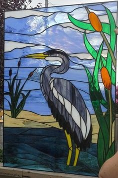 blue heron stained glass - Google Search