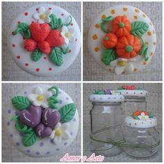 Vidros com frutinhas decorados em biscuit