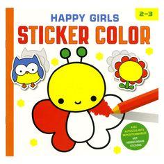 Een leuke vlinder, een mooie paddenstoel of een schattig poesje... Je vindt ze allemaal in dit leuke kleur- en stickerboek met eenvoudige tekeningen. Zoek de stickers op het stickervel, plak ze op de juiste plaats in het boek en geef dan elke kleurplaat een mooi kleurtje. Stickers plakken en kleuren: uren pret voor kleine kinderhandjes! Afmeting: 23 x 22 cm - Happy Girls Sticker Color
