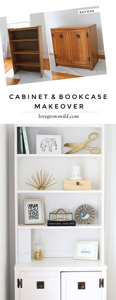 Outdated office furniture transformed into a sleek, sophisticated storage system! Classic black and white with touches of gold glam - smart! Bookcase Makeover, Bookcase, Furniture Makeover, Diy Home Decor, Home Diy, Furniture Projects, Diy Furniture, Redo Furniture, Home Decor