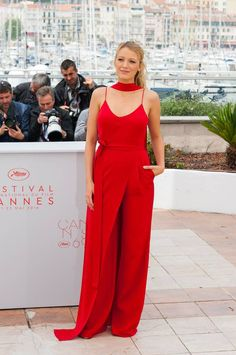 Blake Lively in bold red Juan Carlos Obando jumpsuit at Cannes Film Festival 2016