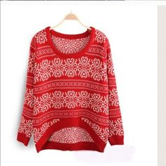 KNITTED WONDER sweater - RED Super warm & comfy. Fits size S/M. High quality knit sweater with vintage flower design. Perfect for all day wear.   🚫NO TRADE 🚫PayPal ✅Bundle 🚭Non-smoking 🚫🐾Pet-free Jackets & Coats
