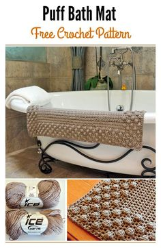 Crochet Puff Bath Mat Free Pattern