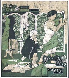 HARRIET ÅDELL. Batiktavla, 1900-talets