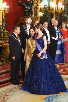 Spanish Royals Host a Dinner for President of Peru at the Royal Palace on July 7, 2015 in Madrid, Spain.