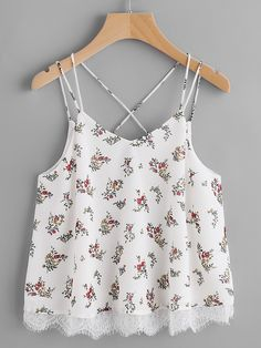 Shop Lace Trim Double Strap Crisscross Floral Cami Top online. SheIn offers Lace Trim Double Strap Crisscross Floral Cami Top & more to fit your fashionable needs.