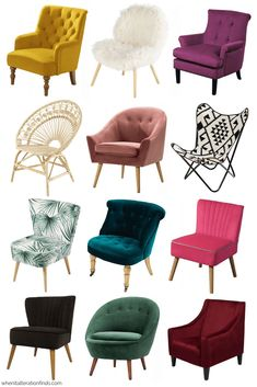 12 fabulous accent chairs you'll love for under is part of Accent chair bedroom - The best affordable accent chairs Choose from a selection of jeweltoned velvet, bold prints and classic lines, all for under Accent Chairs For Living Room, Living Room Chairs, Living Room Furniture, Living Room Decor, Bedroom Decor, Bedroom Rugs, Sofa Design, Interior Design, Home Confort