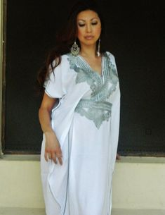 Resort Caftan Marrakech Style- White with Silver Embroidery