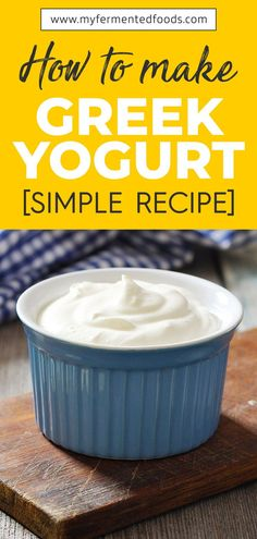 Learn how to make Greek yogurt. It's a thicker and creamier version of the regular yogurt. Use my simple recipe to make Greek yogurt quickly and easily. Greek Yoghurt Recipes, Homemade Yogurt Recipes, Make Greek Yogurt, Homemade Greek Yogurt, Greek Recipes, Snacks Homemade, Amish Recipes, Plain Yogurt, No Dairy Recipes