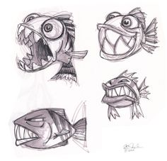 Ideas Drawing Animals Fish Character Design For 2019 Cartoon Sketches, Animal Sketches, Art Drawings Sketches, Animal Drawings, Cool Drawings, Cartoon Art, Drawing Animals, Fish Cartoon Drawing, Character Drawing