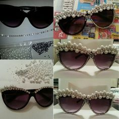 diy diamond and pearl bedazzled sunglasses Festival Sunglasses, Cute Sunglasses, Sunnies, Diy Jewelry, Beaded Jewelry, Handmade Jewelry, Jewlery, Bedazzled Shoes, Diamond Clothing