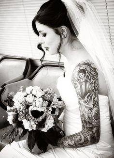 black and white bride tattoo design and ideas