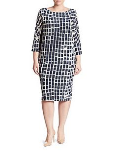 Marina Rinaldi, Plus Size - Danese Printed Silk Crepe De Chine Shift Dress
