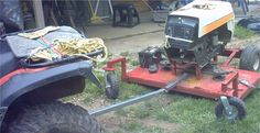 Trail Mower by mshm99 -- Homemade trail mower constructed from a surplus yard tractor, tubing, steel plate, and large casters. http://www.homemadetools.net/homemade-trail-mower