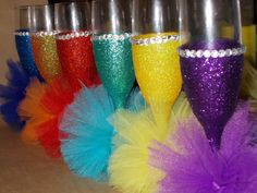 handmade glitter, rhinestone and mini tutus champagne glasses or wine glasses