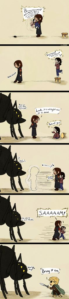 LOTR: The Spider by ~Kumama on deviantART (lol at AU where Boromir lives and tags along with Frodo and Sam) The Hobbit Movies, O Hobbit, Love The Lord, Lord Of The Rings, My Love, Thranduil, Legolas, Bagginshield, Jrr Tolkien