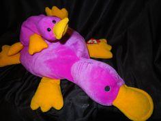 15.95 EASTER BASKET LOVE purple Platypus Pillow Pal Paddles   Beanie Baby  Patti set b79de270c90