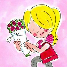 Een meisje met een rozenboeket- Greetz