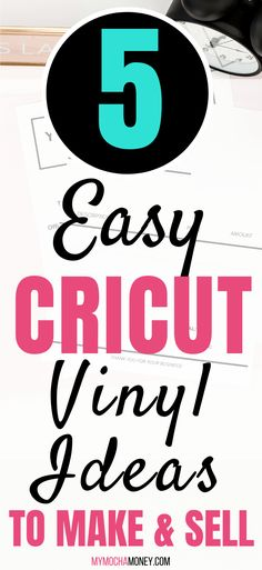 5 very easy Cricut vinyl projects to make and sell! What are the criteria for the best Cricut vinyl projects to make and sell? In-demand and easy to ship items are first on my list. Find out 5 items you can make now on your Cricut machine that you can sell over and over again and make extra money from home! #cricut #cricutmachine #easycricutvinyl #cricutvinylprojectstomakeandsell #cricutvinylprojects