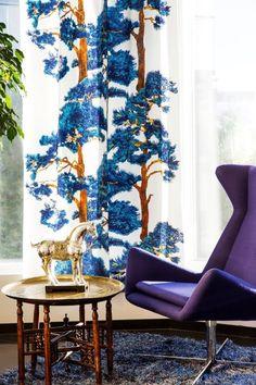 Blue tree curtains. Vallila.