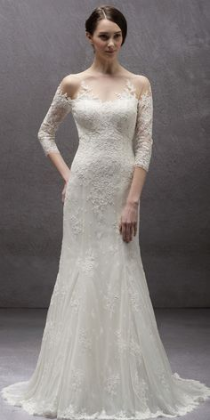 Long illusion sleeves lace appliques gown, V back style.