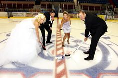 Dating or marrying an athlete can be the best choice you can make. Our hockey wedding picture. http://thelovehawk.com/2013/11/20/why-you-should-marry-or-date-an-athlete/