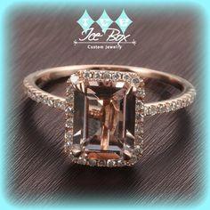Morganite Engagement Ring 2.1ct Emerald Cut in a 14k Rose Gold Diamond Single Halo setting