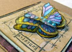 Side view of the 3-D Butterfly Card I made using Tim Holtz BluePrint Stamps!! =)
