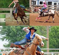 """Starfishing!!! Letting people know you have no seat and suck at barrel racing by bouncing yourself 2 feet out of the saddle and kicking your legs out so far they go horizontal.. Pathetic. If you're kicking your horse this hard it has tuned it out and is no longer responding. Also note the long shanked bits for """"better and faster control""""."""