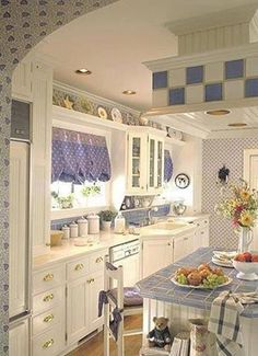 adorable blue and white cottage kitchen