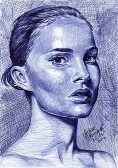 Natalie Portman ballpoint pen by AngelinaBenedetti on DeviantArt – Natalie P … - Famous Last Words Biro Portrait, Portrait Sketches, Art Sketches, Biro Drawing, Ink Pen Drawings, Ballpen Drawing, Ballpoint Pen Drawing, Pen Illustration, Natalie Portman