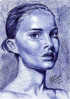 Biro Art, Ballpoint Pen Art, Ballpoint Pen Drawing, Biro Portrait, Portrait Sketches, Art Sketches, Ballpen Drawing, Stylo Art, Pen Illustration