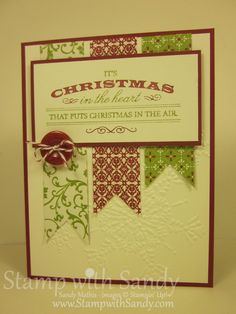 Sandy's Heart of Christmas card has a clean graphic look with the Festival of Prints dsp banners & texture from the Northern Flurry embossing folder.